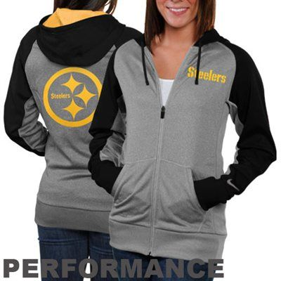Nike Pittsburgh Steelers Ladies Die-Hard Full Zip Performance Hoodie - Ash/Gold