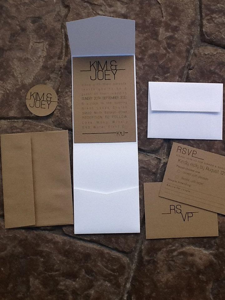 monogram wedding envelope seals sticker%0A Modern Pocketfold  Wedding Invitations  rsvp card  envelopes and sticker  seal   via