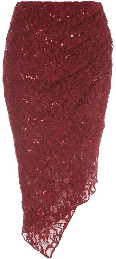 Jane Norman Asymmetric Sequin Lace Skirt