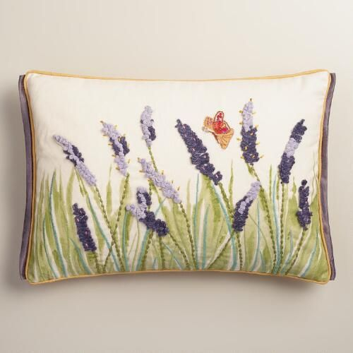 One of my favorite discoveries at WorldMarket.com: Purple Lupine and Butterfly Embroidered Lumbar Pillow