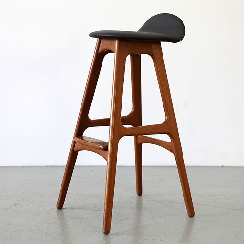 Erik Buck Teakwood & Leather Bar Stool chair Buch | Made