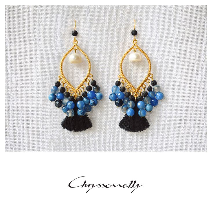 JEWELRY   Chryssomally    Art & Fashion Designer - Boho luxe tassel earrings with gemstones in sky blue, white and black shades