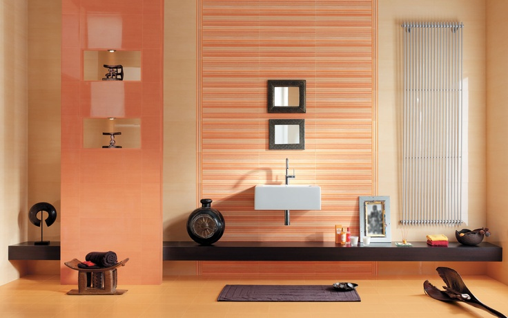 Collection: FAP Crea / Solution India Ambra   The blend of lines and pastel colors on these tiles give the bathroom an exotic, meditative feel.