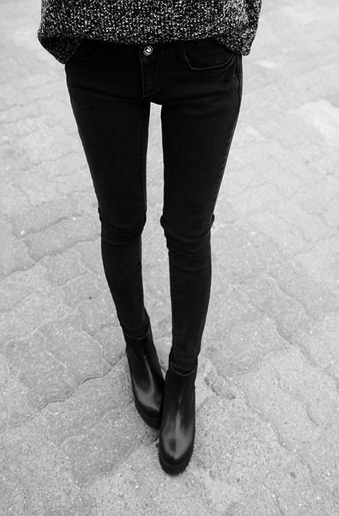 black jeans, black boots. me. every single day.