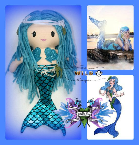 Sirena The Mermaid Plush Doll by LilysFairyShop on Etsy