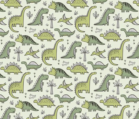 Dinosaurs in green fabric by caja design on spoonflower for Dinosaur fabric