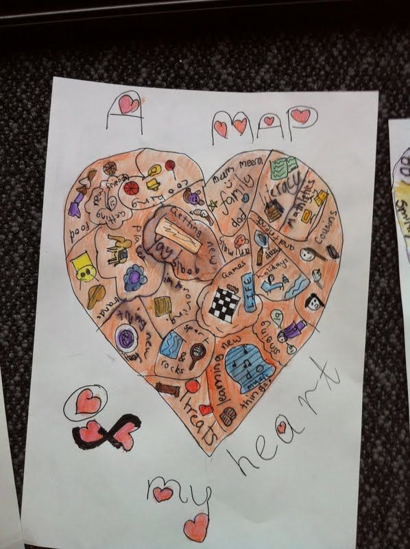 'map of my heart' - children's project inspired by Sara Fanelli's 'My Map Book'