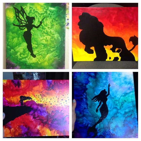 "Disney Crayon Art Custom Disney Crayon Art.    The pieces shown are 11"" x 14"", but I can do different sizes (see below for pricing). Yours will not turn out exactly as shown since these pieces are unique. Pieces done: 2 versions of Ariel (Little Mermaid), Pocahontas, Disney Princesses, Maleficient (Sleeping Beauty), & Wall-e.   Let me know if you're interested in a custom piece!  16"" x 20"": $50 , 11"" x 14"": $40 8"" x 10"": $30 5"" x 7"" or 4"" x 6"": $20 Other"