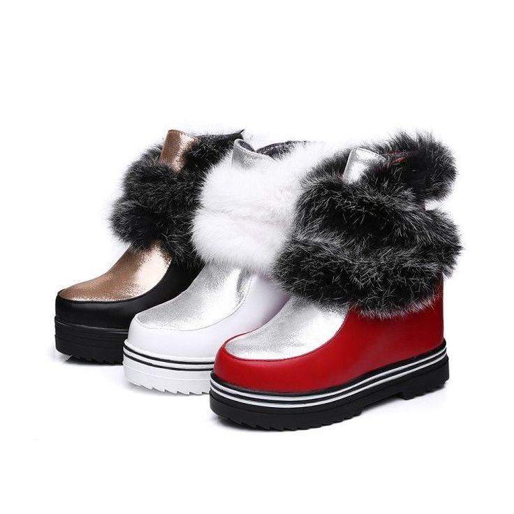 Womens Winter Faux Fur Ankle Boots Pull On Shoes Platform Wedge Heels Casual