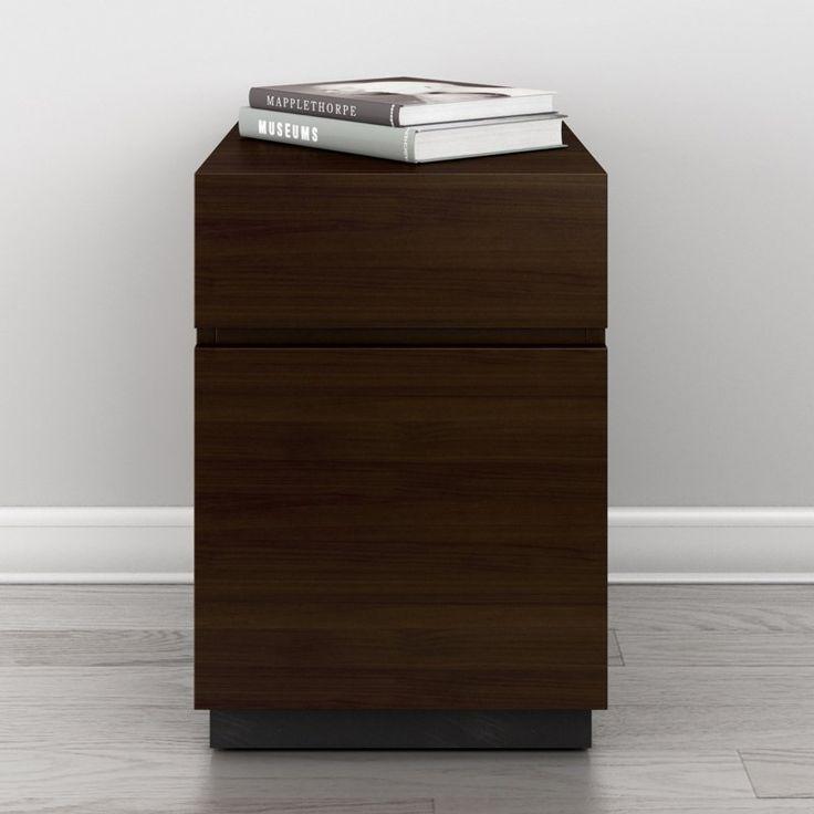 Furnitech Signature Home American Walnut Veneer 2 Drawer Rolling Pedestal  File Cabinet   FT16PDW