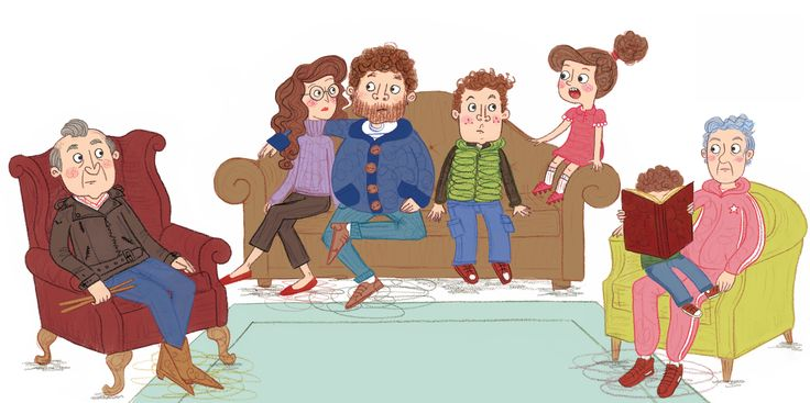 Rascal's family in their sitting room - Double page spread from 'Rascal's Snow Story'