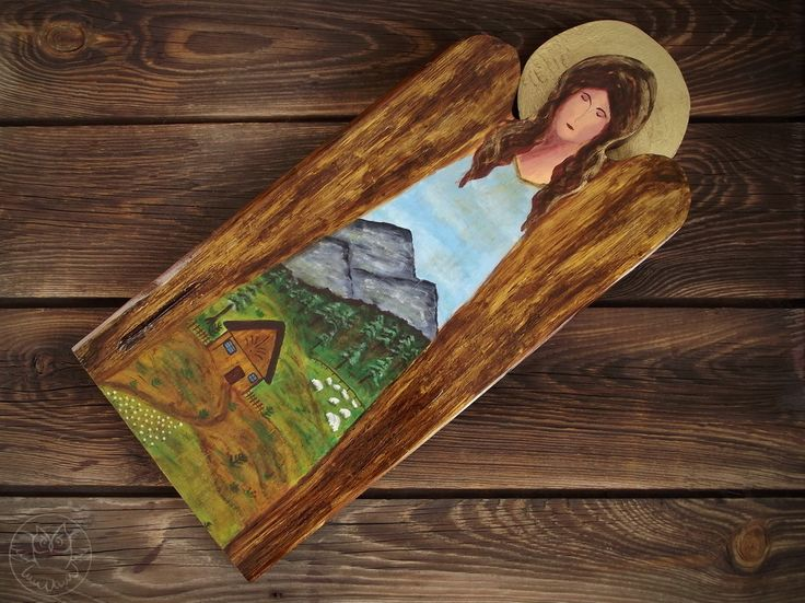 Angel with mountain landscape paintad on reclaimed wood
