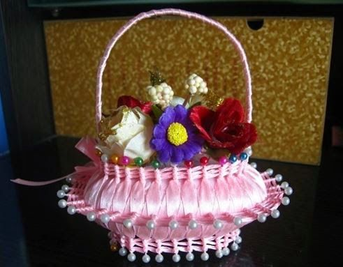 DIY Ribbon and Soap Flower Basket