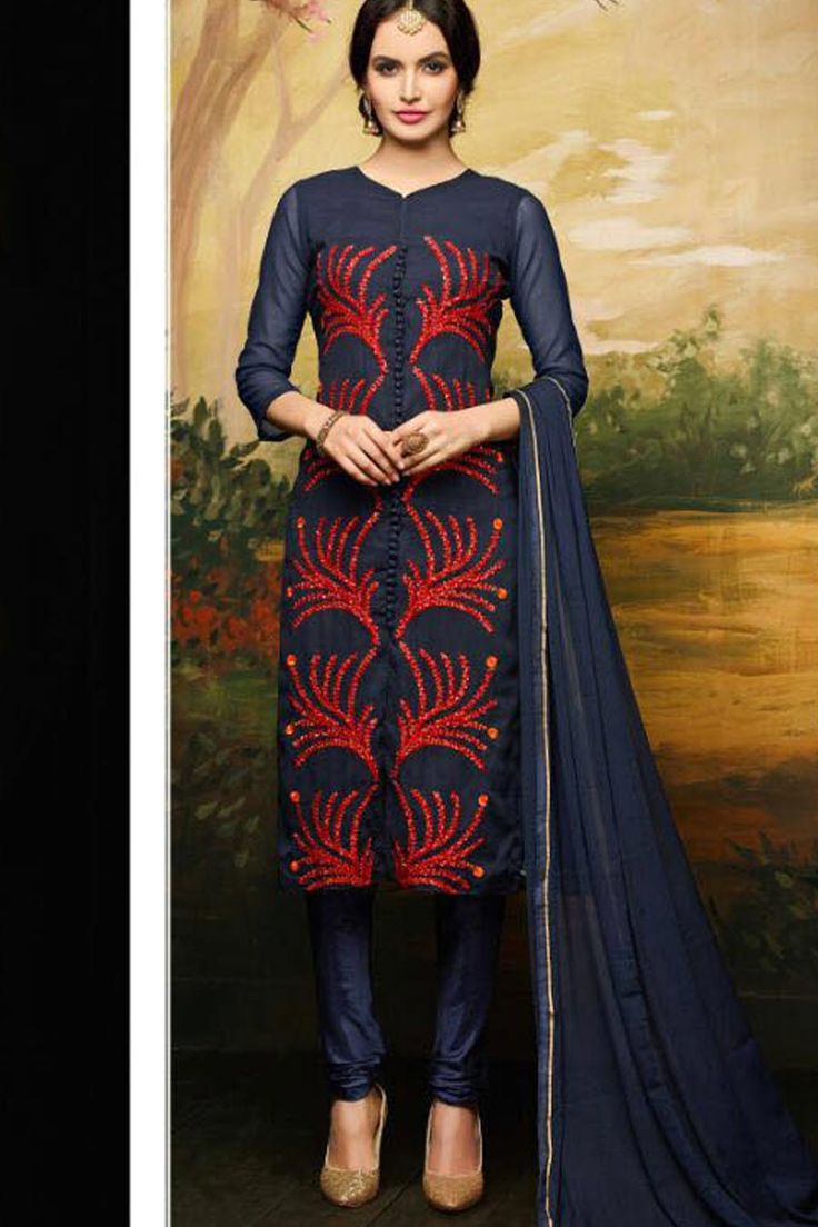 Navy Georgette Embroidered Semi Stitched Suit