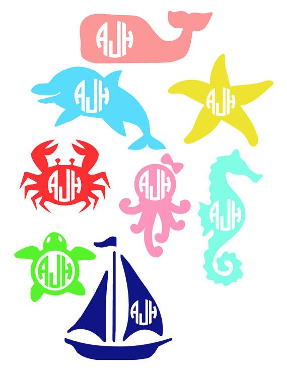 Monogrammed Decals for cars, phones, laptops, notebooks, spikers, beach buckets, & more... sailboat octopus sea horse dolphin vineyard vines whale crab turtle starfish all personalized with your initials