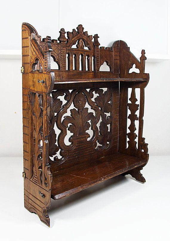 Antique shelf Vintage shelf Ornate shelf Carved wood shelf Italian decor Dark…