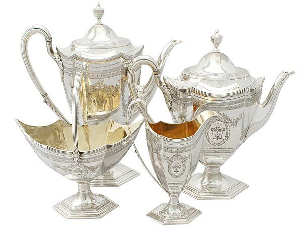 'Antique Silver Tea and Coffee Service' An exceptional, fine and impressive antique Victorian English sterling silver four piece tea and coffee service/set.