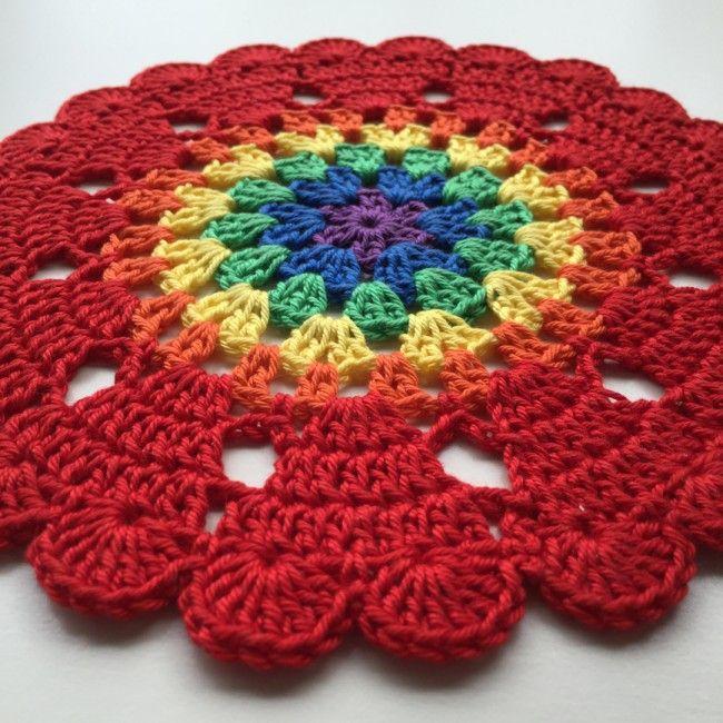 Crochet Rainbow mandalas with Hearts