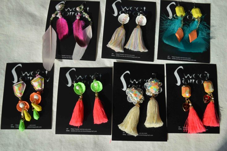 neon and pastel color earrings pierce ピアス sweet sorrow