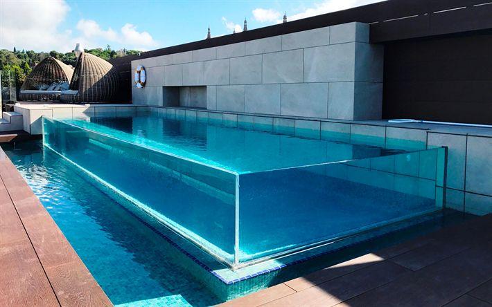 Lataa kuva lasi uima-allas, tyylikäs uima-altaat, moderni ulkoasu talon, uima-allas pihalla