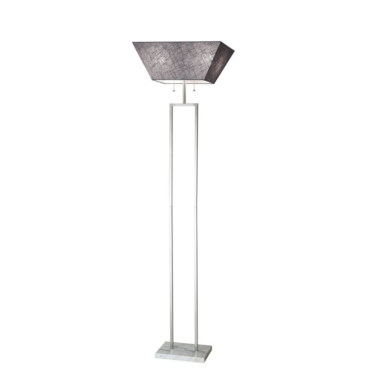 Adesso Chambers Tall Floor Lamp, Silver (Metal)