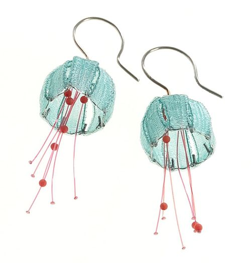 Artist:  Dorit Schubert  |  Earrings:  Jelly Fish  | Materials:  Nylon, steel, silver  |  url:  http://www.dorit-schubert.de/