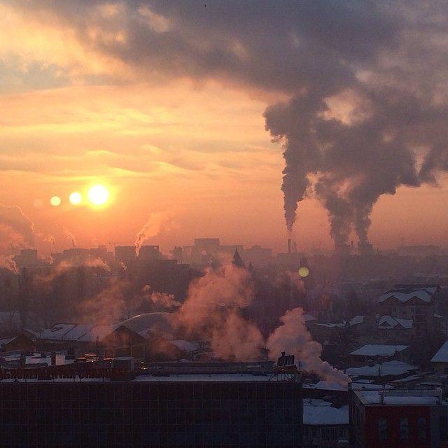 foggy winter sunset in Bucharest