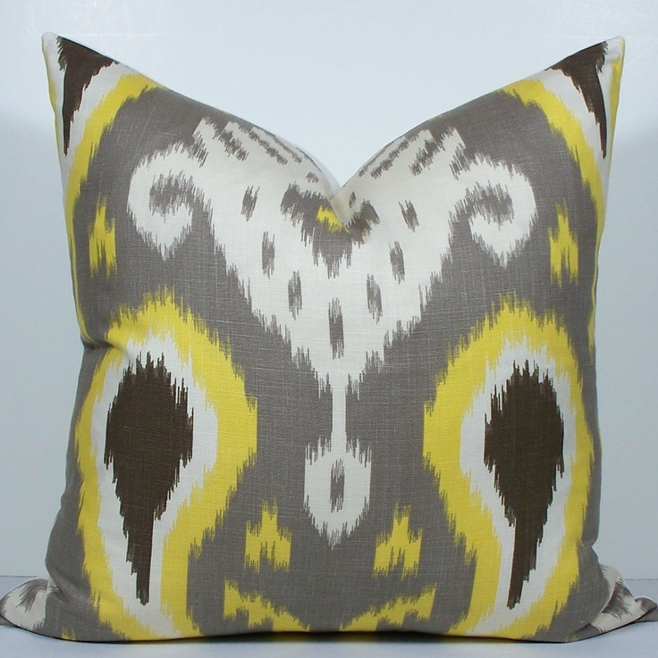Yellow And Grey Throw Pillow Covers : Gray and Yellow IKAT pillow-Decorative Pillow Cover - 20x20 - Throw Pillow - Taupe gray - grey ...