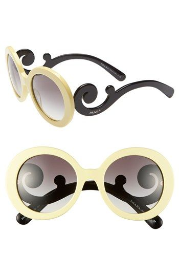 Prada 'Baroque' 55mm Round Sunglasses available at #Nordstrom