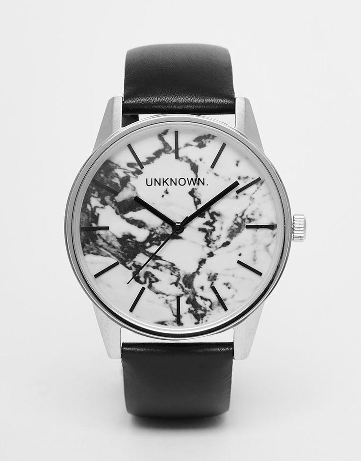 Image 1 - UNKNOWN - Urban - Montre effet marbré à bracelet en cuir noir