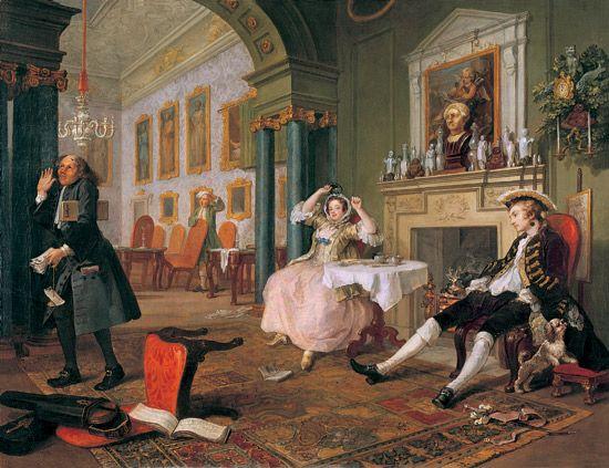 Matrimonio alla moda (2) - La Mattina, William Hogarth; 1744; olio su tela; National Gallery, Londra