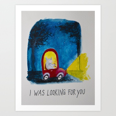 In the red car Art Print by Elena Goatelli - $20.00