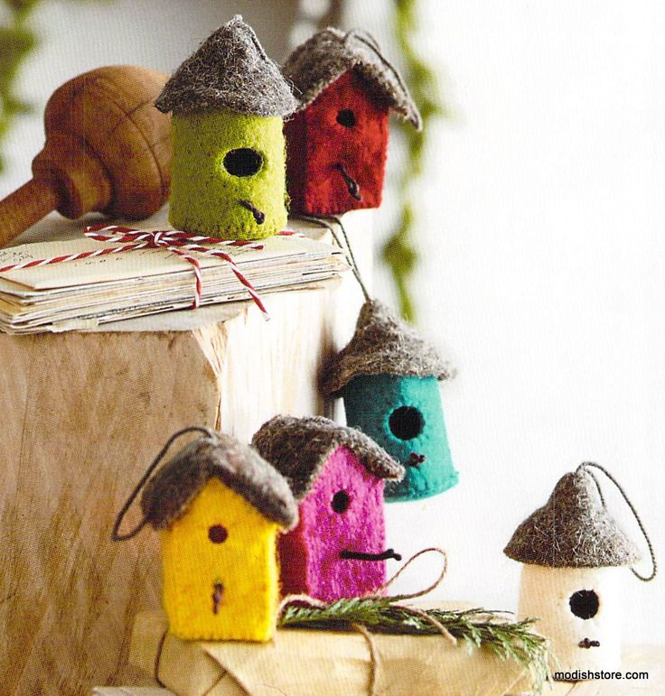 Roost Felt Bird House Ornaments