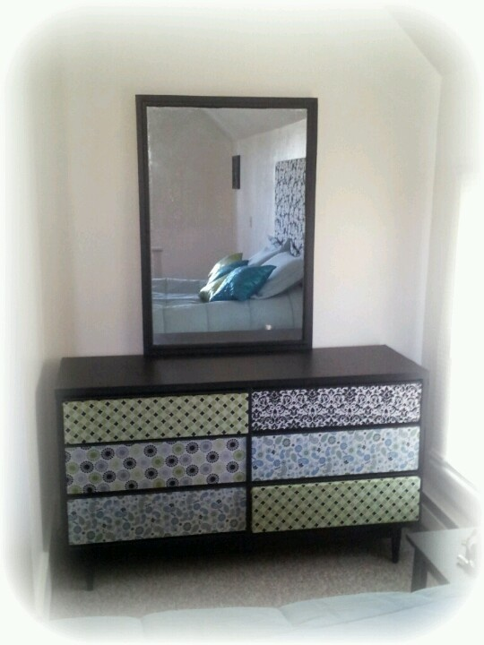 I Covered The Whole Dresser With Vinyl Contact Paper Including