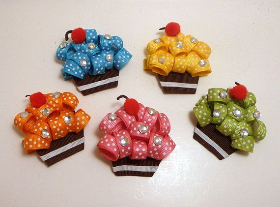cake haarspeldjes - cupcake Ribbon Hair Clips 5 Colors
