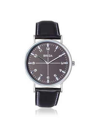 16% OFF Breda Men's 1646D Black Alloy Leather Watch