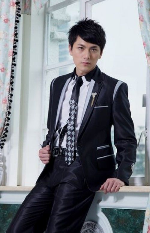 Buy Embellished Lapelled Single Button Groom Suit Black with cheapest price Clothing-Dropship.com