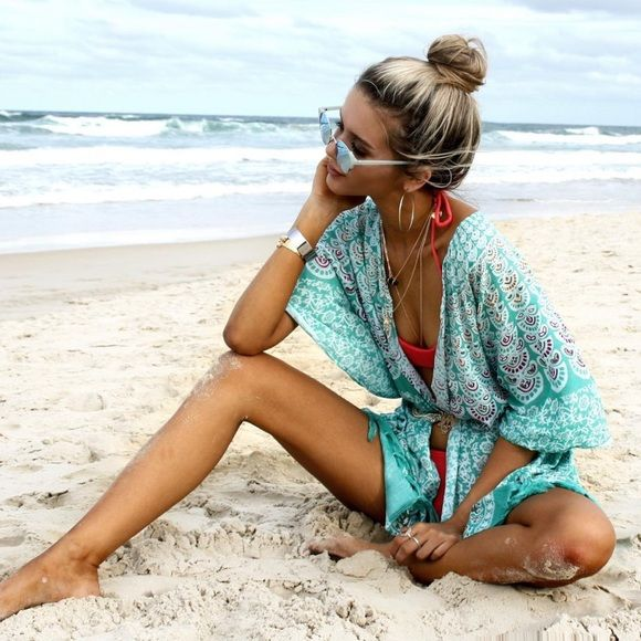 Sale | NEW Aqua Peacock Beach Kimono SPRING+SUMMER Collection | One Size | Available now | Beautiful High quality, designed in Australia. 🌴 *Also avail in Blue* La Luna Gypsy Other