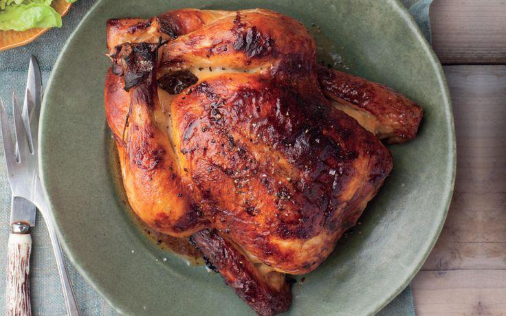 Slow Cooker Buttermilk Brined Chicken - whole chicken, buttermilk, brown sugar, paprika, garlic, salt & pepper
