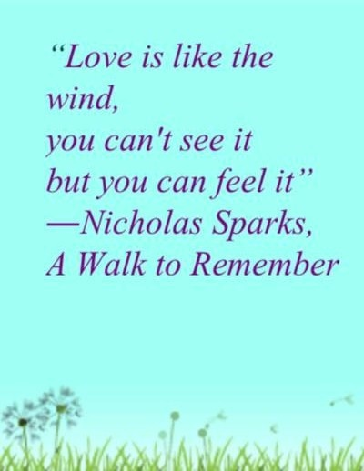 a walk to remember quotes love is like the wind - photo #17