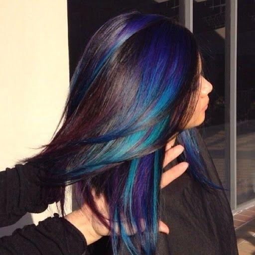 Black with Violet Streaks – Hair Colors Ideasdark brown hair with peek a boo…