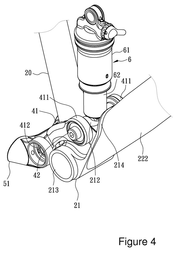 Patent US7806422 - Bicycle with a common pivot shock absorber