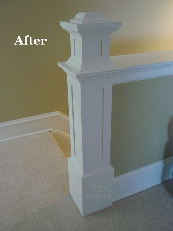 How to build a newel post on a half wall - this is the final post - has links to detailed posts part 1 & 2 near the bottom of the article.  From The Joy of Moldings.