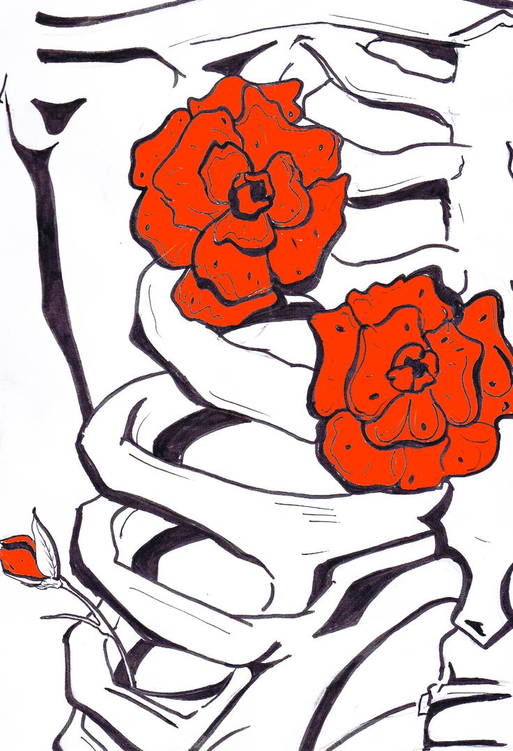 A Rosy Chest - By Anthony Keutzer #Rose #Flowers #Chest #Skeleton #Death #Ink #Art #Sketch #Tattoo