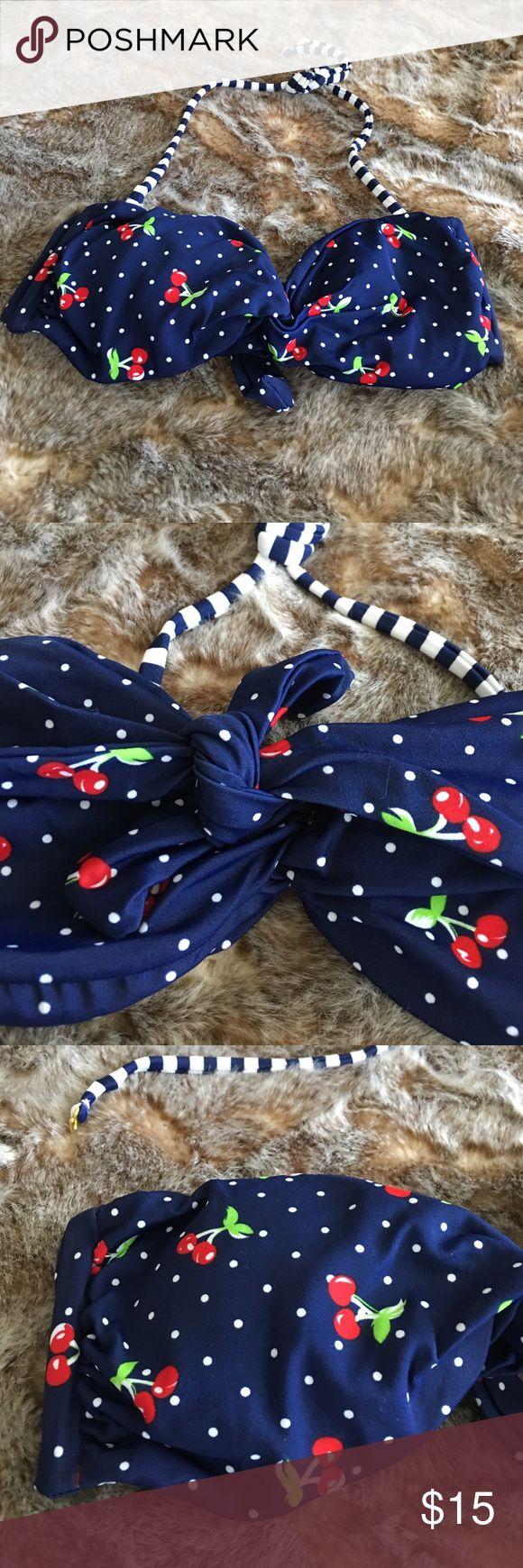 Cherry 🍒 Polka Dot Bandeau Bikini Top New ! In Plastic. Cherry 🍒Pin-up Polka Dot Bikini Top. Detachable Navy striped halter top. Size Large. back has tie closure. Super cute! Delia's Brand. Swim Bikinis