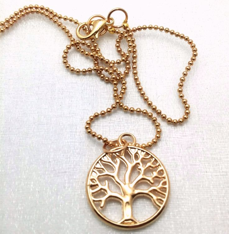 Gold Tree of Life necklace - Tree pendant - Family Tree necklace - gold tree of life - gifts under 20 - everyday tree pendant by thewingedscarab on Etsy