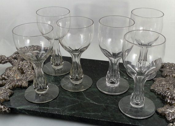 Vintage Champagne Coupe Glasses 5 1/4-5, 6 Old Morgantown Crystal Champagne Glasses, Tray Not Included. Antique 1918 Tulip Champagne Hollow Stem