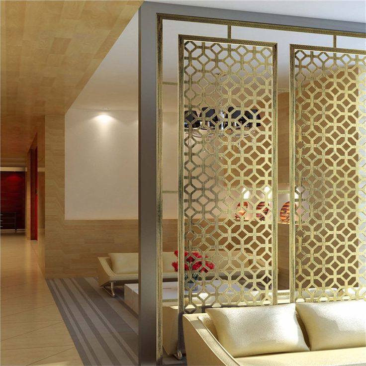 Pvd Gold Hairline Finish Stainless Steel Room Divider Decorative Room Dividers Flat Interior