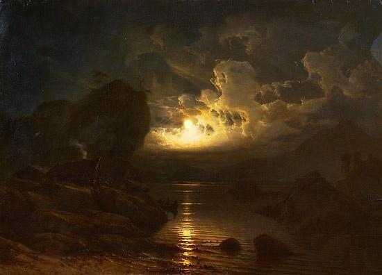 Knud Baade (1808-1879): Fjordlandskap i måneskinn, 1852