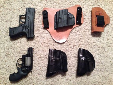 Customer Submission:  Springfield XD9 subcompact with the following holster options: Crossbreed IWB and Galco Stow-n-Go IWB.  S&W Airlite 38 Special is my more concealable option with the following holster options: Side Guard Tuck Clip IWB and Side Guard Quick Clip IWB.